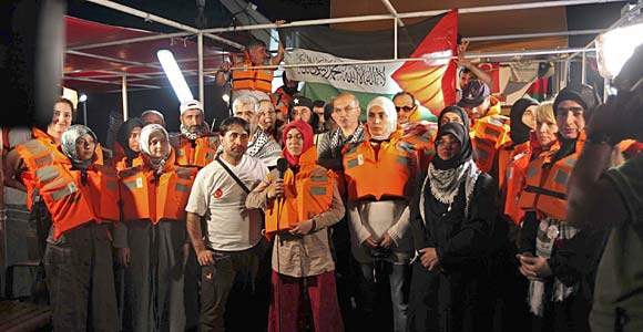 Activists on a ship in the Freedom Flotilla