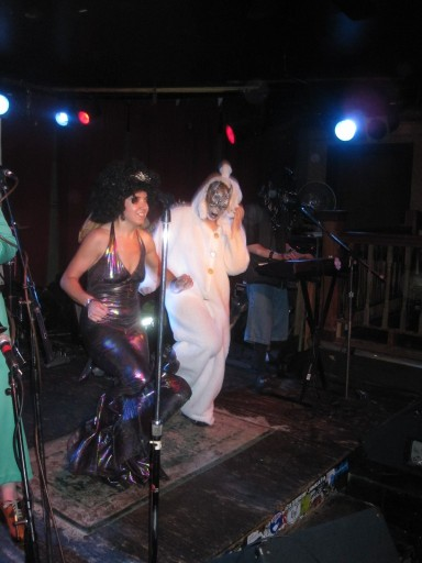 Dancing the night away: (l-r) Ashley Bobbett and sheep take the stage during Anal Pudding's set at the costume ball