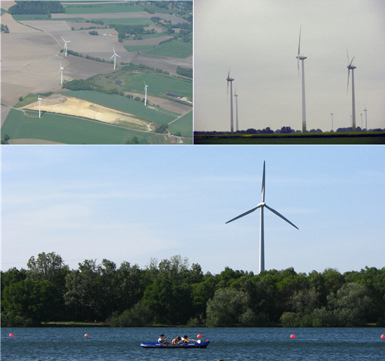 a triptych of wind turbine images