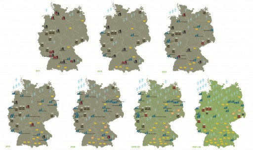 maps of Germany with energy icons