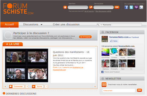 screen capture of forum schiste website