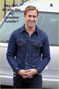 """**EXCLUSIVE** Ryan Gosling, wearing a denim jacket and skinny jeans, hangs out on the set of his upcoming movie """"Drive"""""""