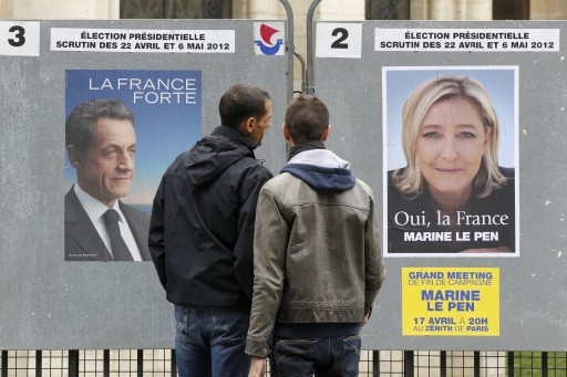 Sarkozy and LePen posters side-by-side during the 2012 French Presidential Election (image lessentiel-magazine.fr)