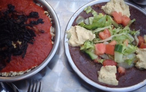 Koshary (L) and ful (R) go excellently together as starters