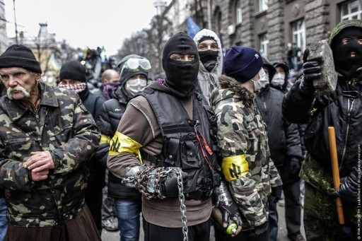 Militants of neo-fascist Ukrainian party Svoboda.
