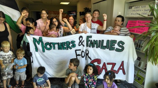Protesters occupying MP Don Davies' office in 2014. Photo: Mothers and Families for Gaza