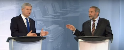 Stephen Harper and Thomas Mulcair in a heated exchange during the French language debate (Radio-Canada/YouTube)