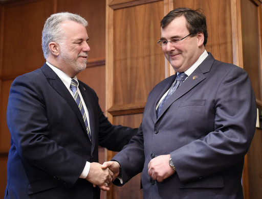 (l-r) Premier Couillard and François Blais the new Employment and Social Solidarity Minister who will spearhead this project